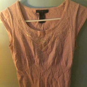 Limited - Pink Short Sleeve Knit Beaded Top - S